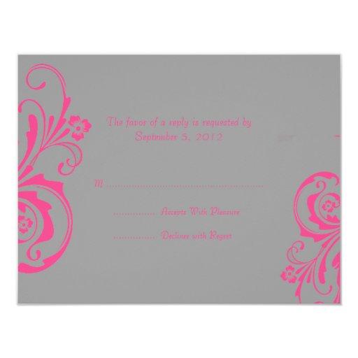 """RSVP que se casa elegante rosado y gris Invitación 4.25"""" X 5.5"""""""