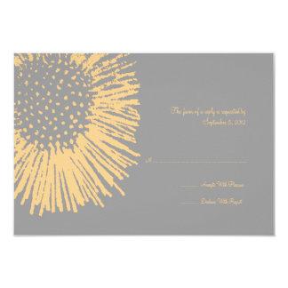 RSVP que se casa floral abstracto amarillo y gris Invitación 8,9 X 12,7 Cm