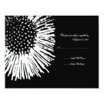RSVP que se casa floral abstracto blanco y negro Invitaciones Personales