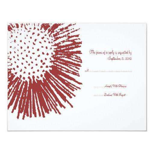 """RSVP que se casa floral abstracto rojo y blanco Invitación 4.25"""" X 5.5"""""""