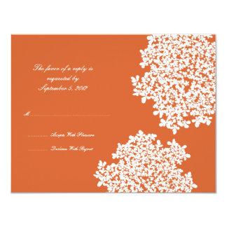 """RSVP que se casa floral anaranjado Invitación 4.25"""" X 5.5"""""""