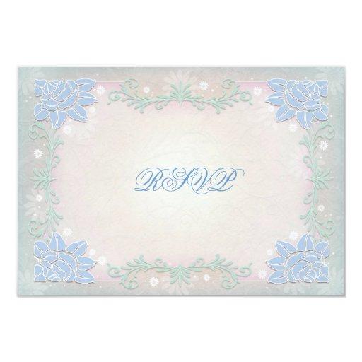 RSVP que se casa floral azul y rosado en colores Invitación 8,9 X 12,7 Cm