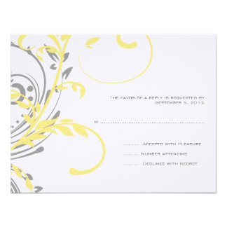 RSVP que se casa floral doble amarillo y gris Comunicado Personalizado