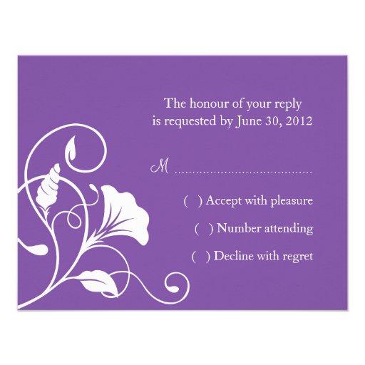 RSVP que se casa floral púrpura y blanco o tarjeta Anuncios