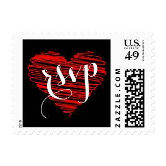 RSVP que se casa rojo y negro con el corazón Timbres Postales