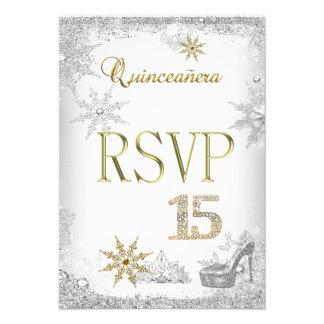 RSVP Quinceanera 15 Silver White Gold Elite Personalized Invite