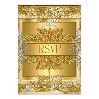 RSVP Quinceañera 15th Birthday Gold Custom Invitations