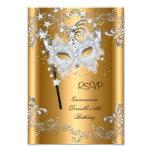 RSVP Quinceanera 15th Birthday Gold Masquerade 3.5x5 Paper Invitation Card