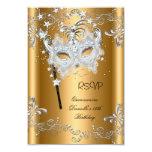 RSVP Quinceanera 15th Birthday Gold Masquerade Custom Announcement