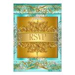 RSVP Quinceañera 15th Birthday Gold Teal Custom Announcement