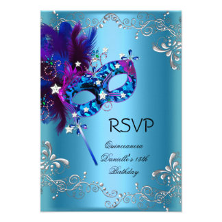 RSVP Quinceanera 15th Birthday Party Masquerade Personalized Invitation