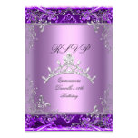 RSVP Quinceanera 15th Birthday Party Purple Lilac 3.5x5 Paper Invitation Card