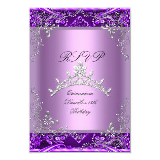 RSVP Quinceanera 15th Birthday Party Purple Lilac Card