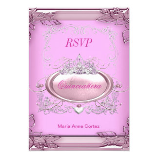 RSVP Quinceañera 15th Birthday Pink White Silver Invitation