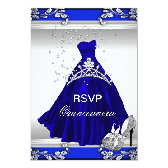 RSVP Quinceanera 15th Birthday Royal Blue Dress Card