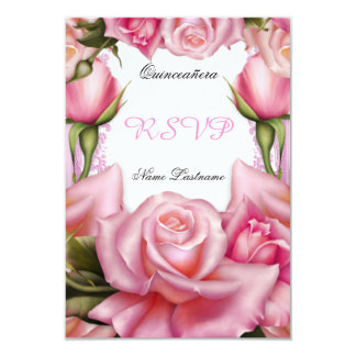 RSVP Quinceanera Party Pretty Floral Pink Rose Custom Invitation