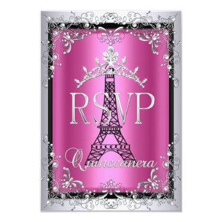 RSVP Quinceanera Pink Silver Tiara Eiffel Tower 3.5x5 Paper Invitation Card