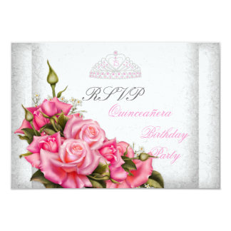 RSVP Quinceanera Pretty Pink Roses White 15th Custom Announcement