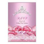 "RSVP Quinceanera White Pink Swans Tiara Heart 3.5"" X 5"" Invitation Card"