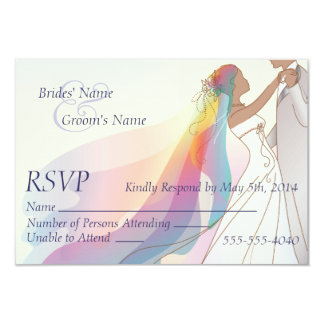 RSVP - Rainbow Bride & Groom Wedding 2 3.5x5 Paper Invitation Card