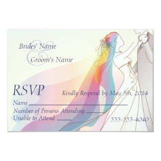 RSVP - Rainbow Bride & Groom Wedding 3.5x5 Paper Invitation Card