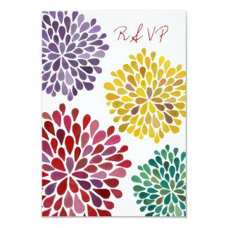 RSVP Rainbow Flower Blossoms Wedding Card