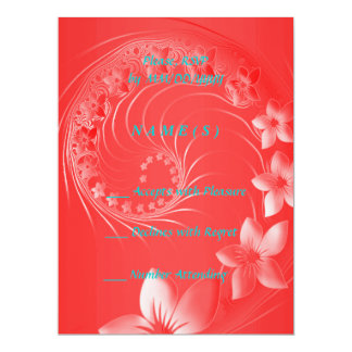 RSVP - Red Abstract Flowers Card
