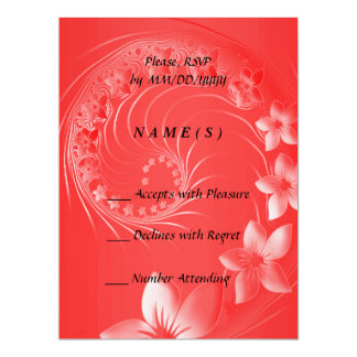 RSVP - Red Abstract Flowers 6.5x8.75 Paper Invitation Card