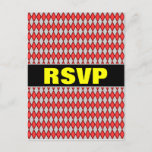 "[ Thumbnail: ""RSVP"" + Red and Gray Diamond Shape Pattern Postcard ]"