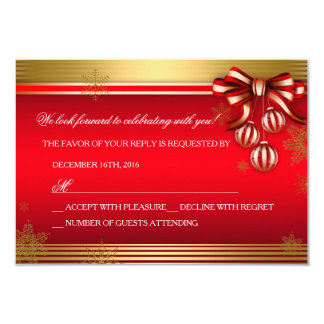 RSVP Red Gold Ribbon Bauble Christmas Holiday Card