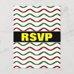 "[ Thumbnail: ""RSVP"" + Red & Green Wavy Lines Pattern Postcard ]"