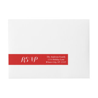RSVP Red or any Custom Color Wrap Around Address Label
