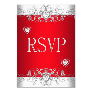 RSVP red Silver White Diamond Hearts Card