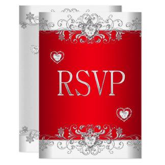 RSVP red Silver White Diamond Hearts Invitation