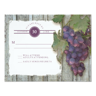 RSVP Red Wine Vintage Wood n Vineyard Wedding Card
