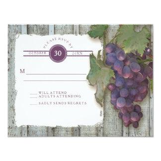 RSVP Red Wine Vintage Wood n Vineyard Wedding Card