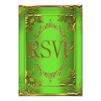 RSVP Reply Birthday Party Lime Gold Card