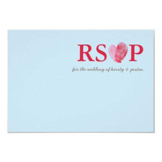 RSVP REPLY CARD cute fingerprint heart couple blue Custom Invitations