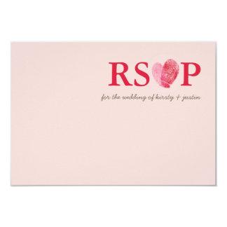 RSVP REPLY CARD cute fingerprint heart couple pink
