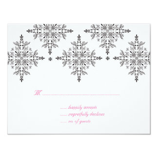 RSVP Reply Card Floral Damask Black White Pink