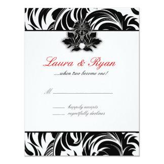 RSVP Reply Card Leaf Swirl Elegant Black White Red