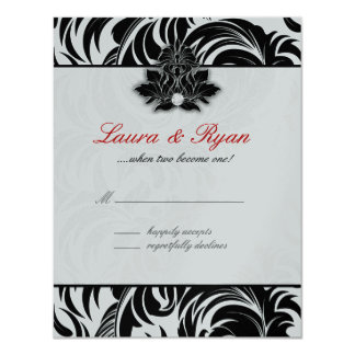 RSVP Reply Card Leaf Swirl Elegant Black White Sil
