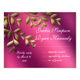 RSVP Reply Card Leaves Pink Purple Gold