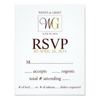RSVP Reply Card Monogram Wedding Logo Green Brown