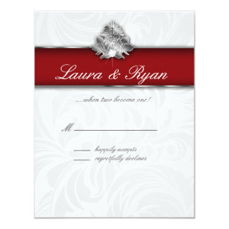 RSVP Reply Card Xmas Leaf Elegant Red Silver