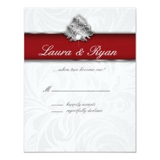 RSVP Reply Card Xmas Leaf Elegant Red Silver 2