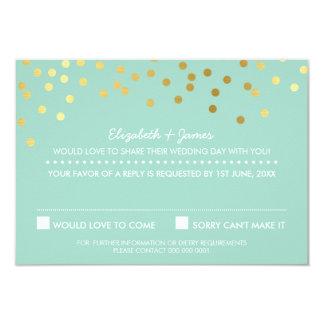 RSVP REPLY cute gold foil confetti pastel mint Card