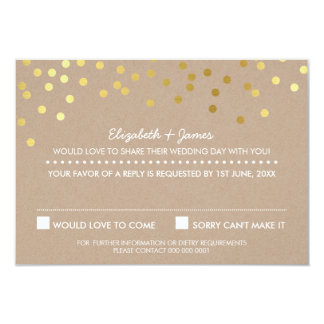 RSVP REPLY cute gold foil confetti response kraft 3.5x5 Paper Invitation Card