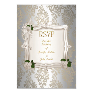 RSVP Reply Elegant Wedding Sepia Silver White Rose 3.5x5 Paper Invitation Card