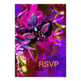 RSVP Reply Masquerade Masks Champagne Card